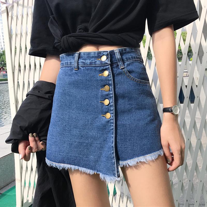 Летний костюм корейский талия строка пряжка заусенец ковбой юбка мужской A слово юбка тонкий юбка юбка юбка-брюки