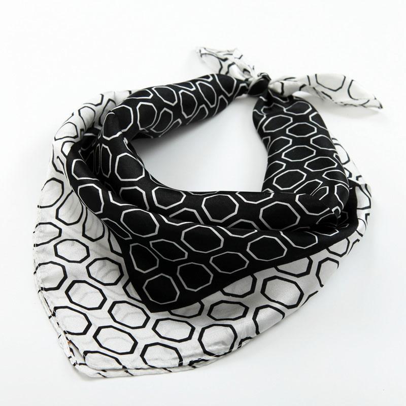 Шелк небольшой шарфы мода вегетарианец креп сатин шелк малый квадрат люди классический черно - белый сетка осень зима украшения корейский