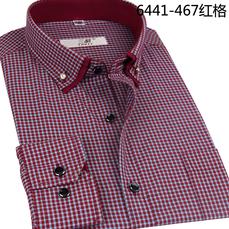Sanli brand shirt leisure Plaid long sleeve fashion mens new exquisite button shirt counter new products