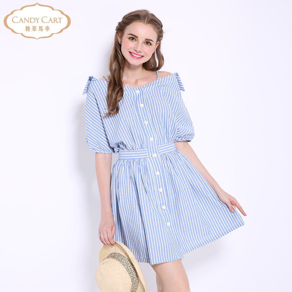 Candy carriage 2016 spring and summer new sling fake shirt single breasted stripe sweet College Japanese dress