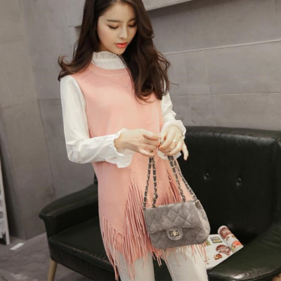 Long sweater whom fall 2015 Europe and the United States the new OL tassel hem lotus leaf collar off two sweaters