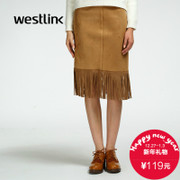 Westlink/West 2015 winter new Europe and casual women's solid color flow Middle bag hip skirt