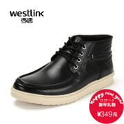 Westlink/West New 2015 winter leisure soft leather strap ankle boots real leather men boots