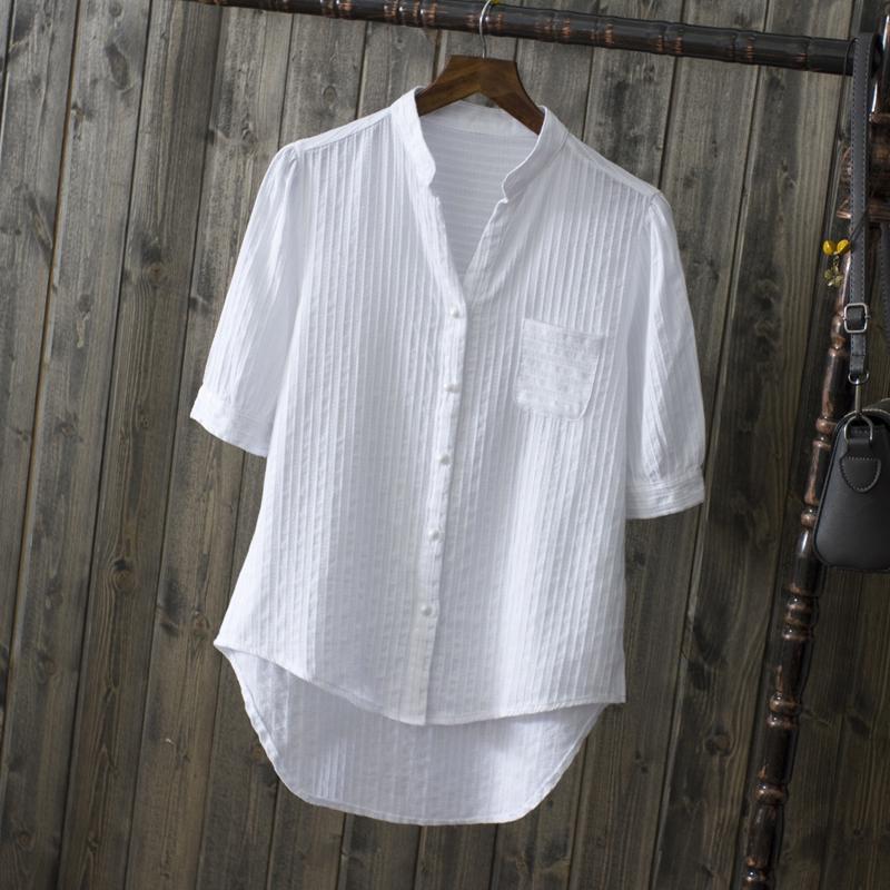 夏装纯棉白衬衫短袖女式休闲衬衣新款清新纯色防晒V领中袖上衣