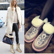 Wool Camo uggs short boots rhinestone fashion tide short fur slip boots in leather women shoes
