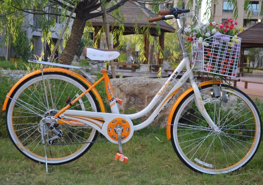 菲利普24寸淑女式变速自行车漂亮公主田园复古单车学生轻快型包邮