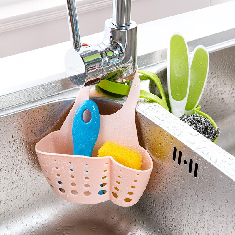 廚房用品海綿瀝水架廚具瀝水籃塑料收納掛籃儲物架置物架水槽掛架