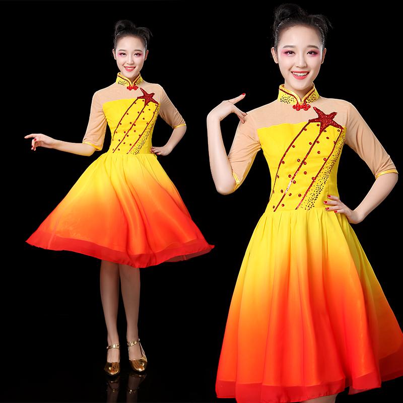 现代舞蹈服装新款青春大合唱服套装短裙广场舞连衣裙演出服成人女