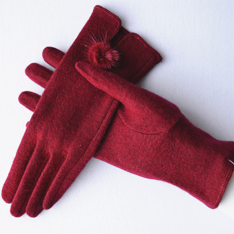 Cashmere gloves womens spring and autumn winter color leisure warm wool gloves womens single layer thin wool ball gloves