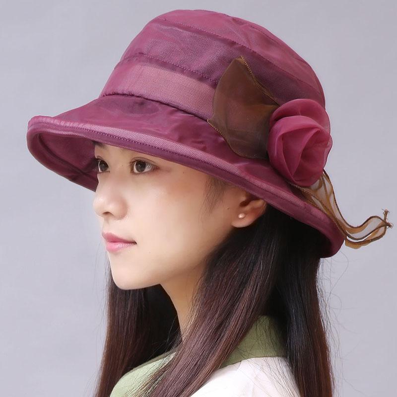 女帽薄款透氣雪紡女士遮陽防曬太陽帽顯臉小紗帽 沙灘帽子