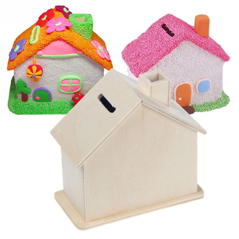 木质存钱罐DIY套装手工益智玩具雪花泥专用白胚存钱罐 珍珠泥模具