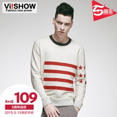 Viishow2015 spring and autumn new sweater men Europe simple Turtleneck Sweater grey patterned crewneck sweater
