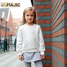 Maggie card 2015 spring cotton children's wear long sleeve T-shirt girl round collar lace embroidery render unlined upper garment, 1183
