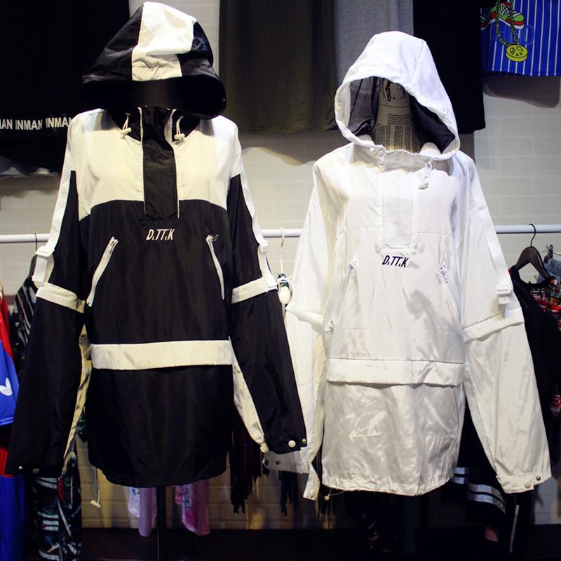 Пост контрастного цвета шить вышивка алфавит с капюшоном любителей солнца скейтборд улице стиль пальто платье