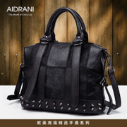 Ai Danni fall/winter leather women bag 2015 new rivet shoulder bag ladies European fur horse hair handbag bag