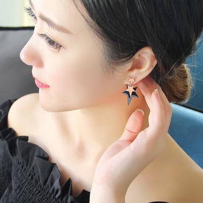 韩版简约黑色五角星耳环耳钉 女气质个性耳坠韩国耳饰星星耳钉