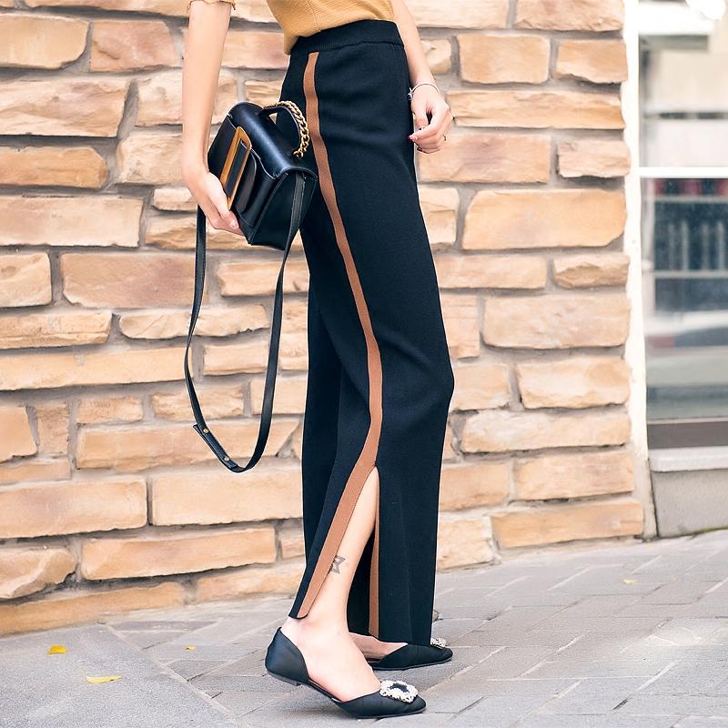 Citymix spring 2018 new side stripe split loose knit wide leg pants womens high waist straight pants pants