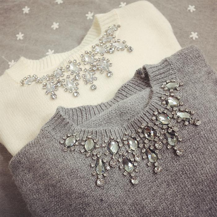 Зимний Корейский дамы горный хрусталь мода кролика мех серый crewneck водолазка с длинным рукавом белый свитер женщин всплеск в конце короткого