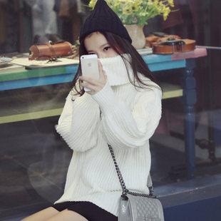 Корейский высокий воротник свитер женские наборы глава длинная часть белого утолщённый свободный вязание свитер мисс пальто волна куртка