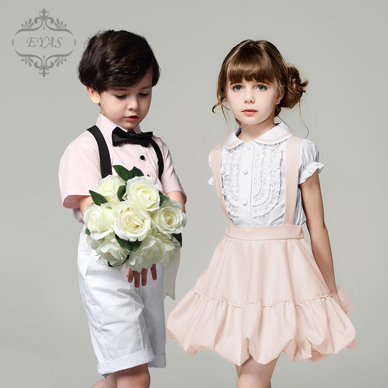 高端儿童礼服演出服小主持人合唱服夏童装短袖花童礼服男童套装潮
