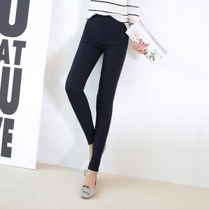 高腰九分弹力外穿春打底裤女士小脚裤大码显瘦黑色薄款铅笔裤长裤