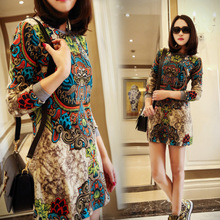 National wind restoring ancient ways of new fund of 2015 autumn winters is printed long-sleeve joker cultivate one's morality show thin render large size ladies dress