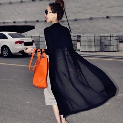 Весна женщины транспорт кардиган кружево шифон рубашка превышать длина тонкий длинный рукав солнцезащитный одежды свободный пальто шаль