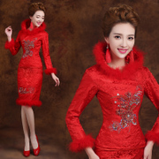 New 2015 winter wedding dress padded retro dress toast long sleeve dresses red dress bridal wear