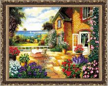 Package mail latest ribbon embroidery hangs a picture of summer wind European landscape sitting room 3 d printing three-dimensional cross-stitch