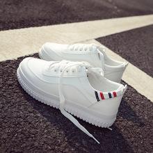 春夏新款小白鞋女运动板鞋底板系带休闲鞋女浅口皮面女鞋HY2806