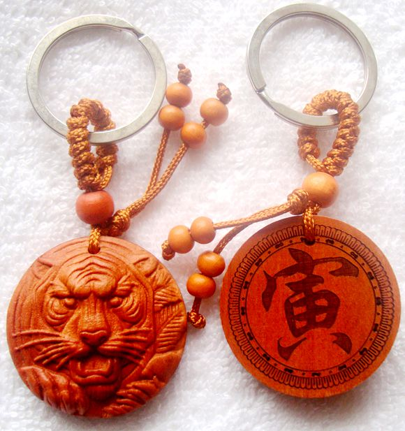 Mahogany tiger key chain tiger brand Yin character tiger life power tiger head pendant wood carving tiger Necklace Bracelet