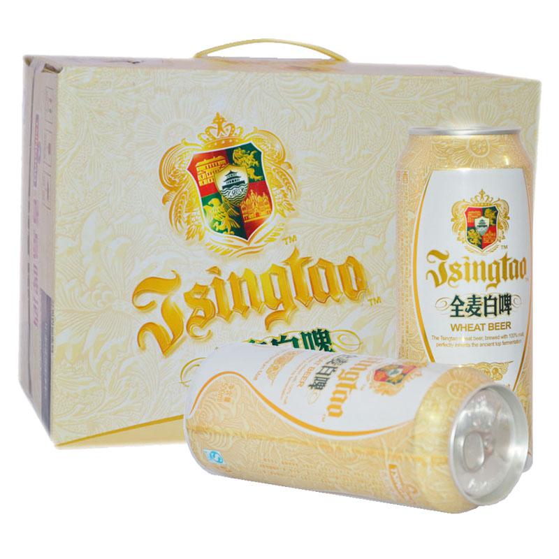 青島啤酒 全麥白啤易拉罐500ml^~12聽 青島整箱