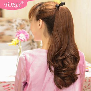 PCT peach silk wig big wave of long hair tied supernatural increase the amount of hair style fake ponytail wig ponytail