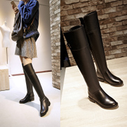 Long leather boots high boots autumn sleeve over the knee boots flat boots women's winter boots warm boots thickening thin leg boots