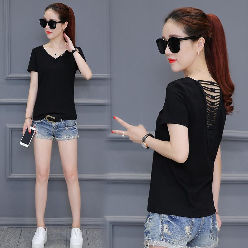 10月18日最新优惠2019夏装新款韩版修身显瘦性感镂空短袖t恤女时尚女装体恤打底衫