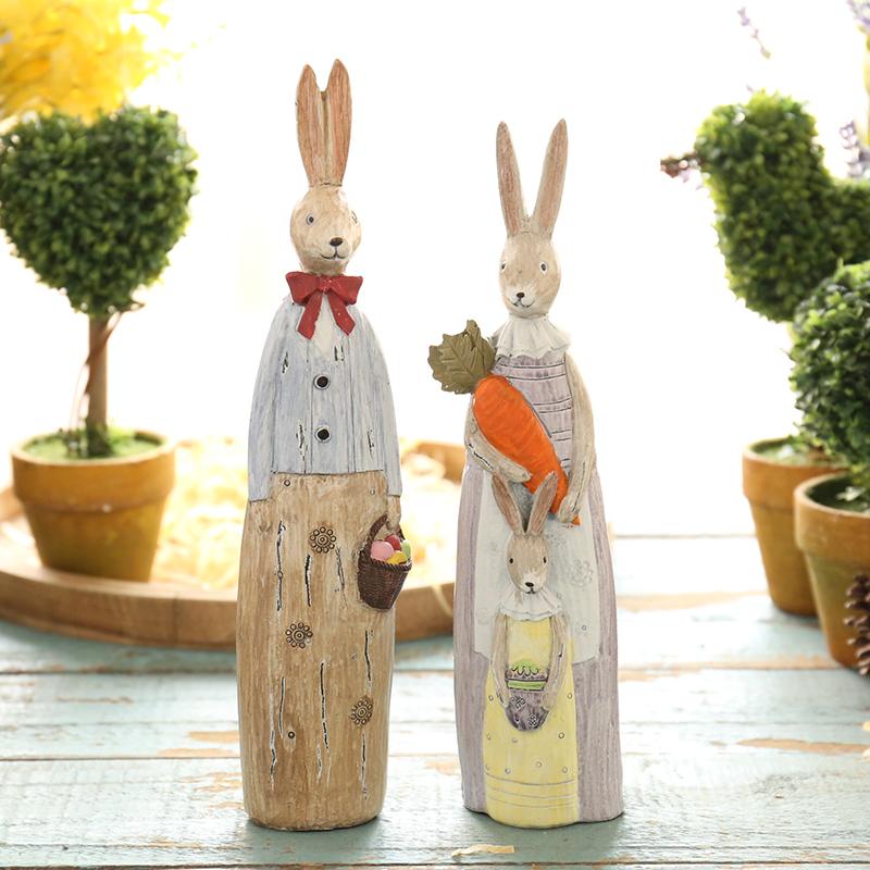美式田園樹脂情侶兔子擺件家居裝飾品 客廳電視櫃擺設工藝品
