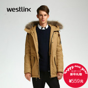 Westlink/West New Korean version 2015 winter hooded DrawString long loose jackets in men's jackets