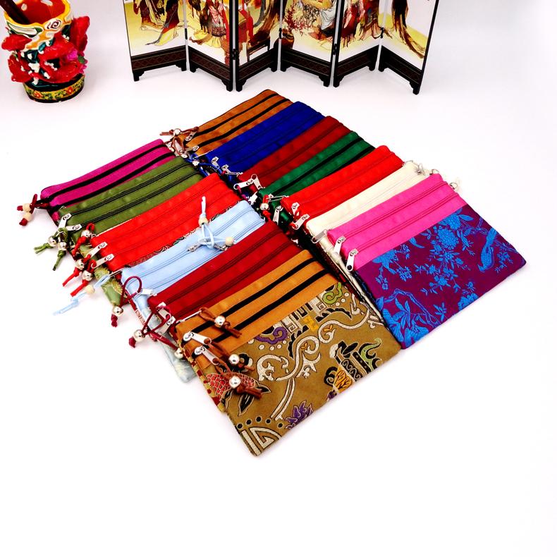 中国风特色手工艺丝绸锦缎三拉链多袋便携收纳首饰包 出国小礼品