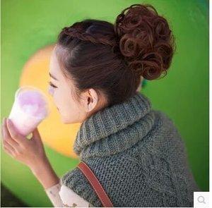 时尚 女彩色 假发马尾 美发卷发发包仿真发花苞头 盘头蓬松丸子头