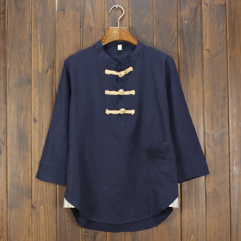 中国风厚款亚麻料夏季t恤七分袖男士衬衫短袖棉麻潮休闲宽松上衣