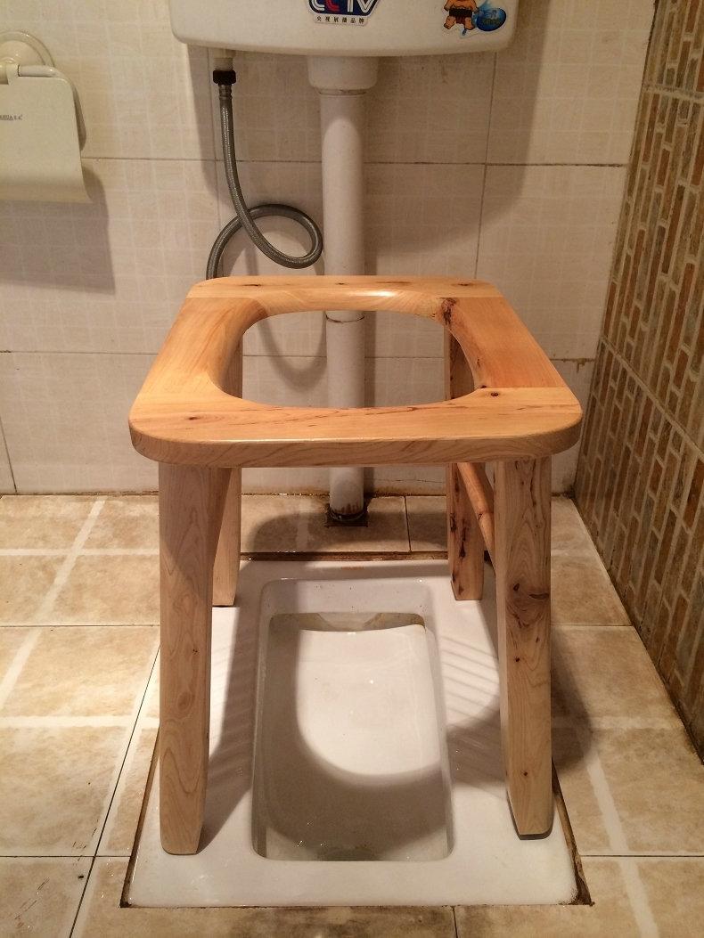 尚熙A3大號實木蹲便凳孕婦老年坐便椅移動馬桶坐便凳座洗澡坐廁椅