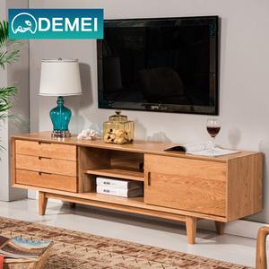 DEMEI 纯实木电视柜白橡木现代客厅家具组合柜北欧日式储物地柜