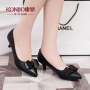 Kang Jiao 2016 spring designer shoes asakuchi women's shoes pointy stiletto bow shoes in temperament Joker