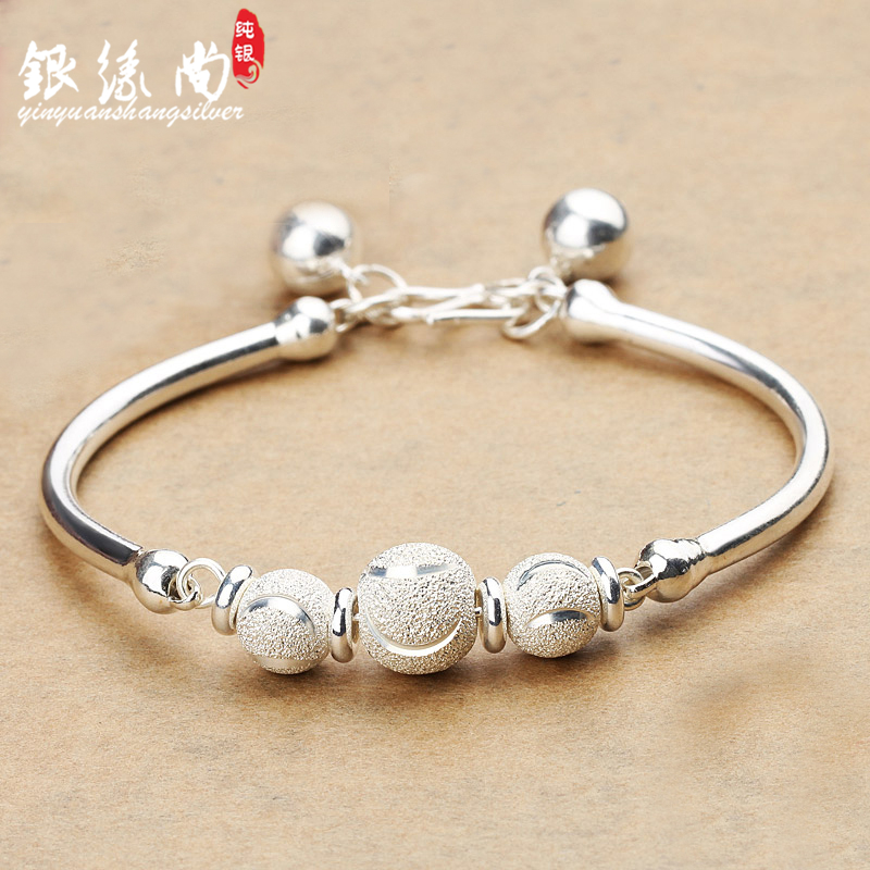 99 foot silver female Sterling Silver Bracelet transfer Pearl Bracelet bell silver bracelet Korean version for Valentines day birthday gift