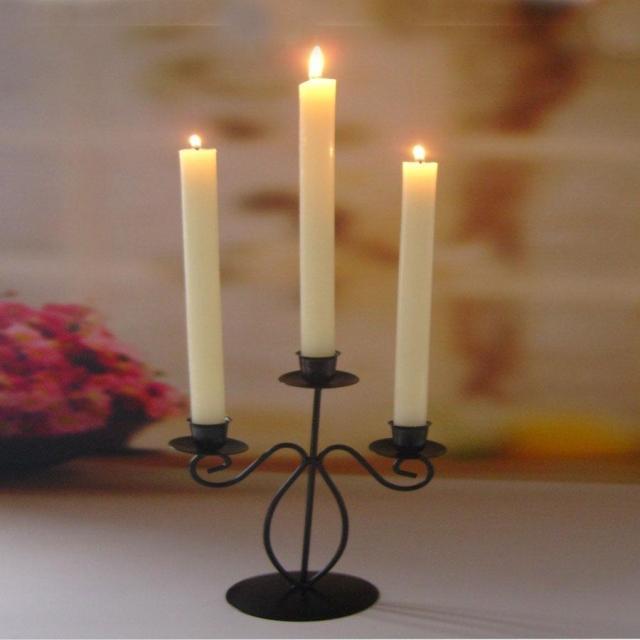 黑色铁艺三头杆蜡烛台烛光晚餐蜡烛台欧式【根带3蜡烛包邮】