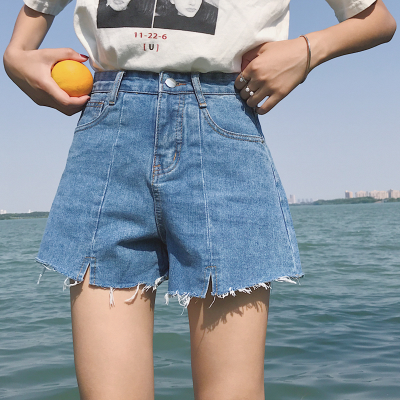 2017 новый летний корейский дикий ковбой ультракоротких брюки талия a слово свободный тонкий широкий нога горячей брюки женские студент
