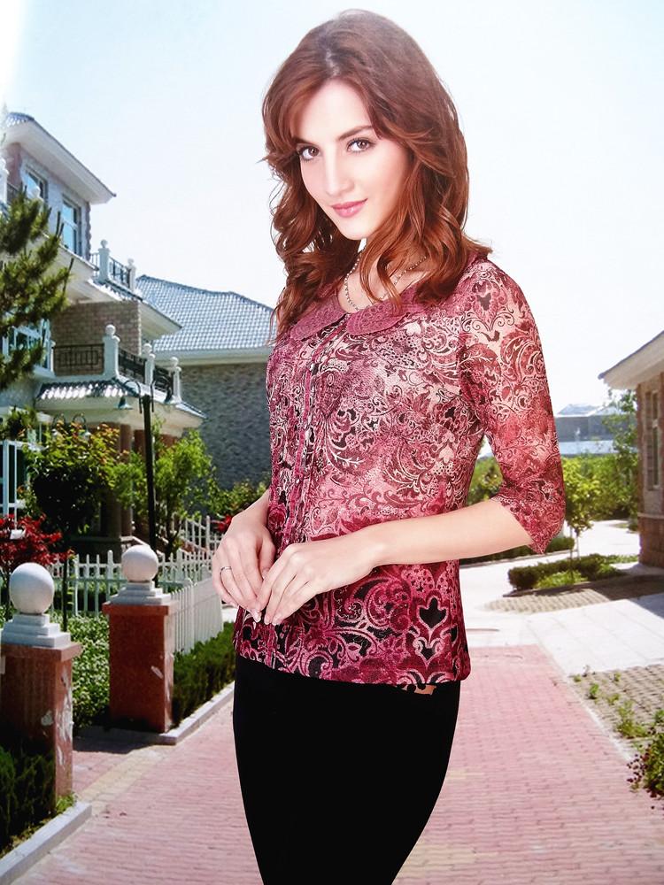 凯品牌折扣中老年女装网纱蕾丝领紫春夏秋装气质时尚妈妈装.