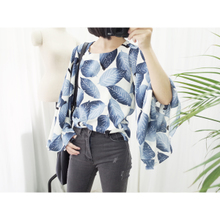 [the sumey] vintage set of head leaves sleeve loose long-sleeved shirt t-shirts printed horn