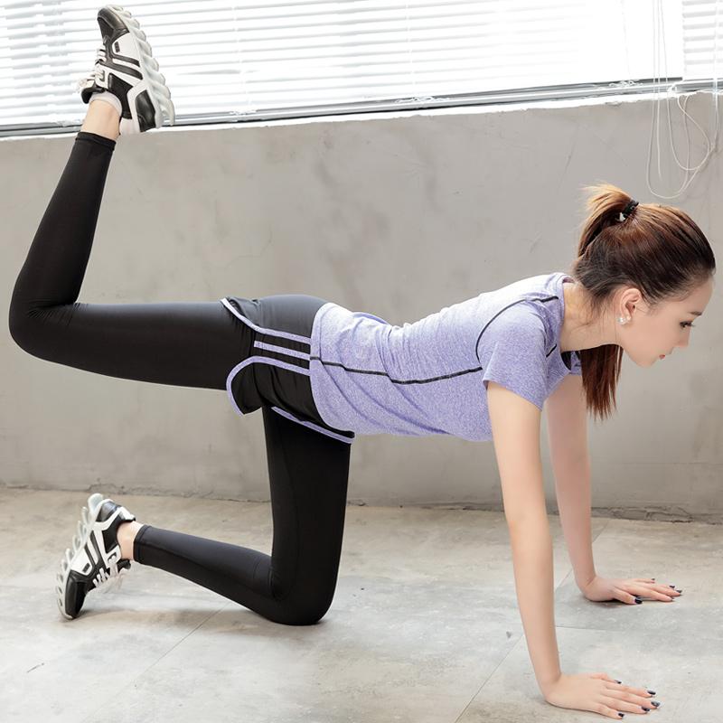 健身服女 套裝女夏瑜伽服短袖T恤上衣跑步短褲緊身褲速幹衣