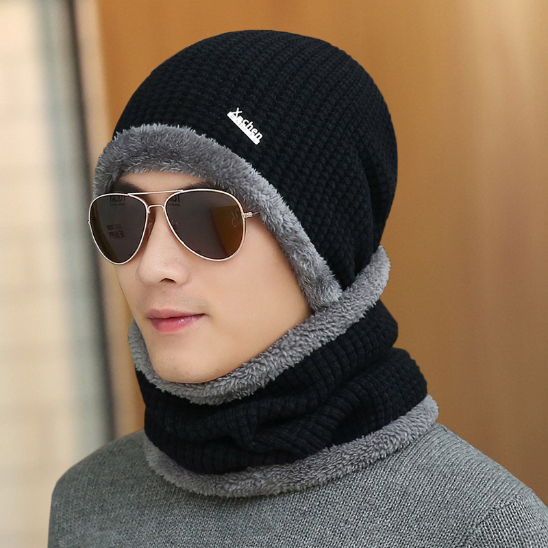 Шляпа мужчина зимний уплотнённый теплая шерсть линия крышка сын зима мужской хеджирование вязаная шапка счет к северо-востоку на открытом воздухе волна